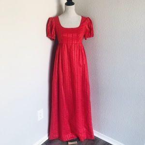 Vtg Red Empire Waist Prairie Maxi Dress